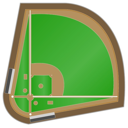 outfield: The scheme of a baseball field on a white background