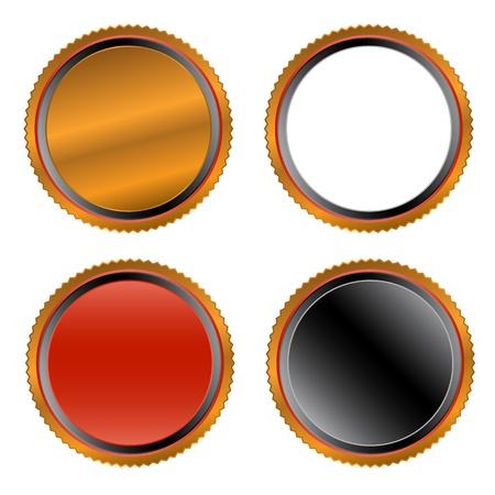 bordering: Cuatro botones exclusivos sobre un fondo blanco