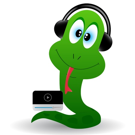Cub of a snake in earphones and with a player Vector