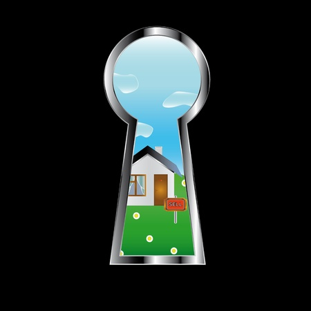 On the sale house on a grass in a door peephole Vector