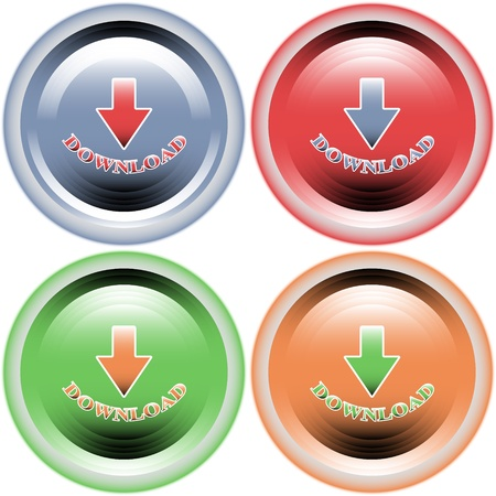Four multi-colored buttons download Vector