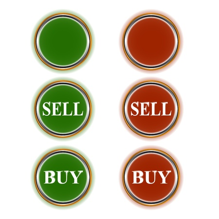 Three green and three red buttons for shop online Vector