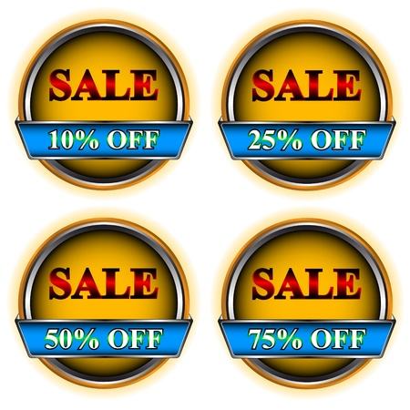 Four buttons sale on a white background Stock Vector - 13028980