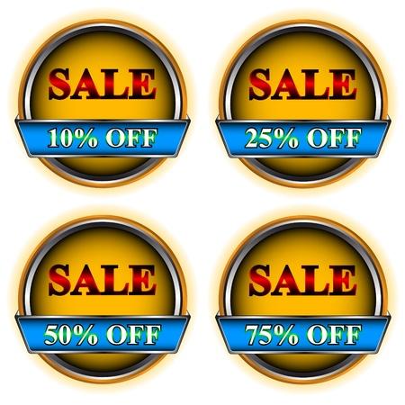 flysheet: Four buttons sale on a white background Illustration