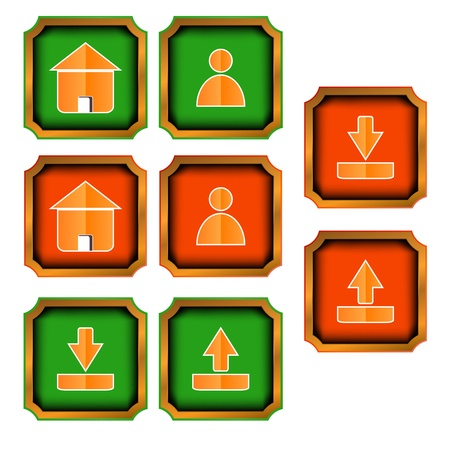 programme: Verde y rojo botones web sobre un fondo blanco