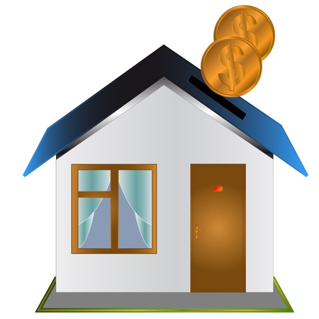 Moneybox in the form of the house with coins Vector