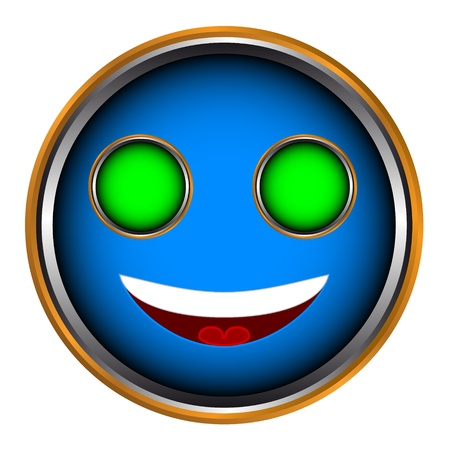 Unique blue smile on a white background Vector