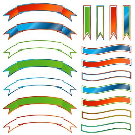 bordering: Conjunto de cintas multicolores sobre un fondo blanco