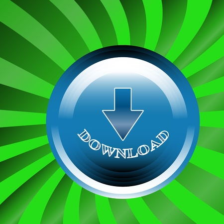 Download button located on a green background Vector