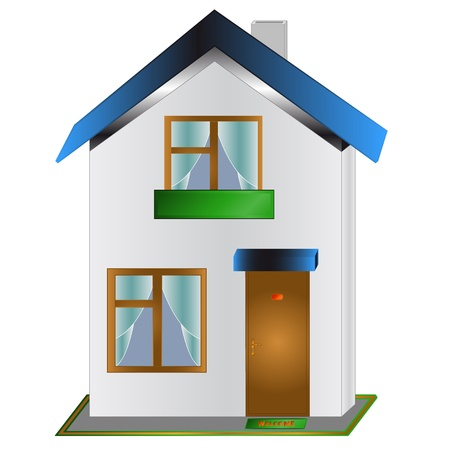 The interesting two-storeyed house on a white background Vector