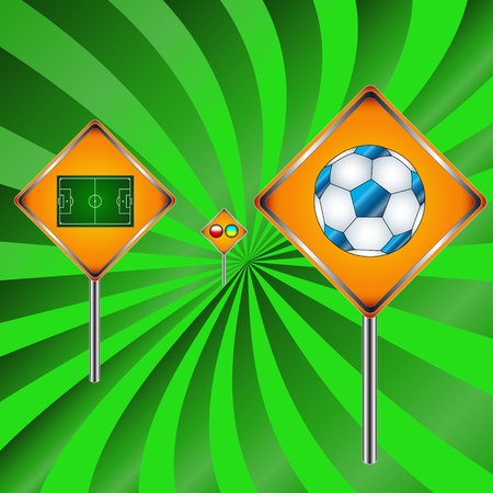 Football signs going to a distance on a green background Illustration