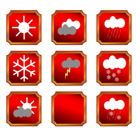 Eight different buttons of weather and one template Vector