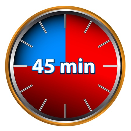 Unique icon of hours with forty five minutes Vector