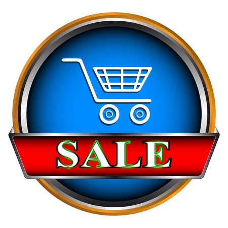 Blue button sale on a white background Vector