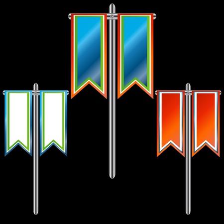 bordering: Tres banderas multicolores, sobre la base de hierro