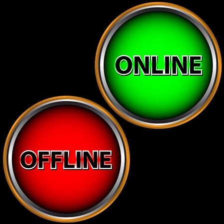 offline: Green button online and red button offline