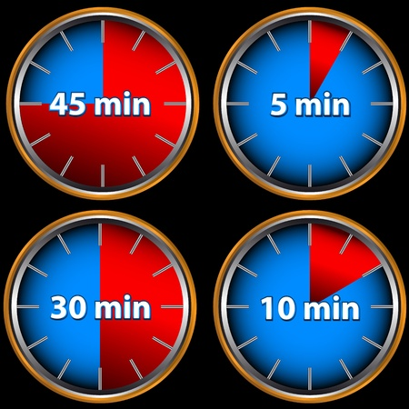 Unique icons of hours with five, ten, thirty and forty five minutes Vector