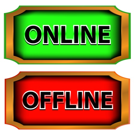 offline: Green button online and red button offline