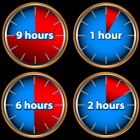 Unique icons of hours with one, two, six and nine hours Vector
