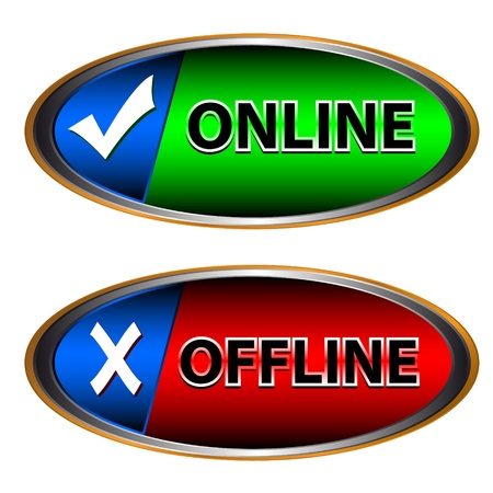 Green button online and red button offline Stock Vector - 13343687