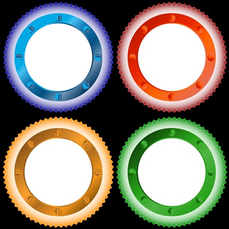 Four multi-colored stickers located on a white background Stock Vector - 13378709
