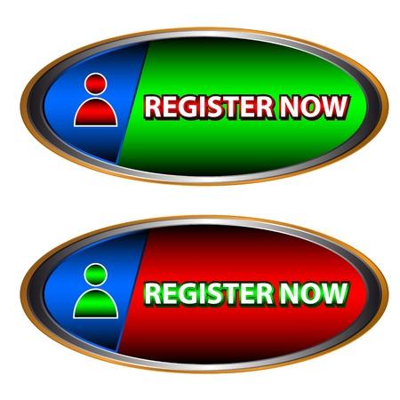 programme: Botones reg�strate ahora sobre un fondo blanco Vectores