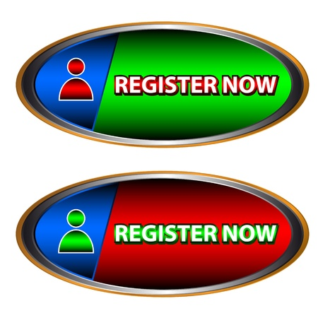 register button: Buttons register now on a white background