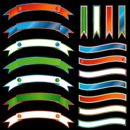 bordering: Conjunto de cintas multicolores sobre un fondo negro Vectores