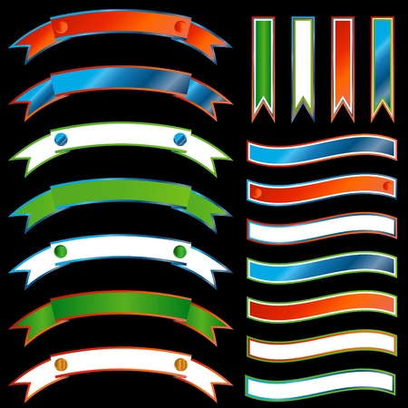 Set of multi-colored ribbons on a black background Stock Vector - 13378705