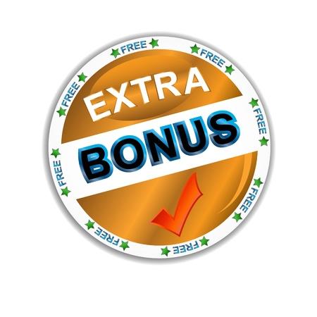 Green bonus symbol located on a white background Vector
