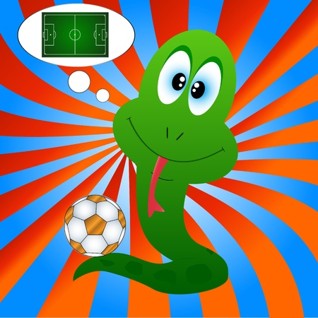 Snake with a football on an original background Vector
