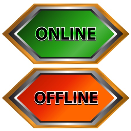 Green button online and red button offline Stock Vector - 13454348