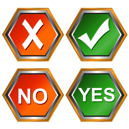 Four different types of buttons yes and no Stock Vector - 13454344