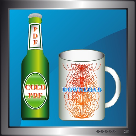 Unique bottle and mug on the Internet style Vector