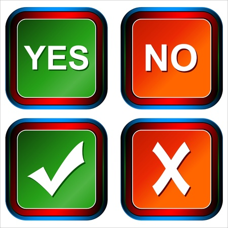 Four different types of buttons yes and no Stock Vector - 13573434