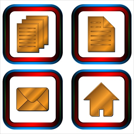 Four glossy web icons with symbols mail document documents and home Stock Vector - 13573435