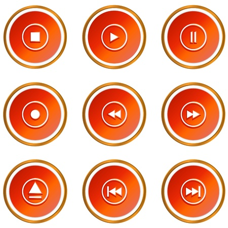 Red player web icons on a white background  Stock Vector - 13573442