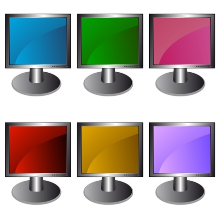 Six unique multi-colored monitors for all tastes Stock Vector - 13605257