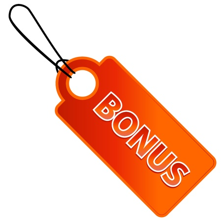 Bonus tag with price list on a white background (vector)