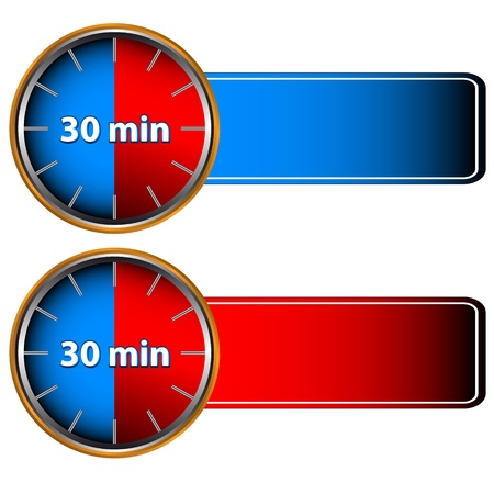 Unique icons of hours with thirty minutes  Vector