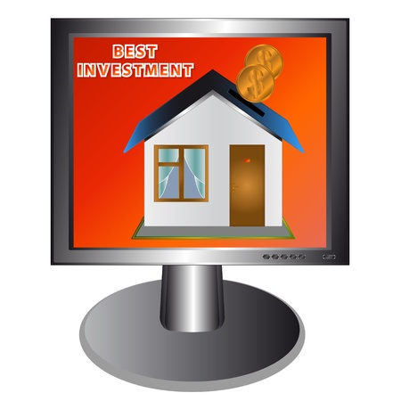 Real estate on the red screen of the monitor Vector