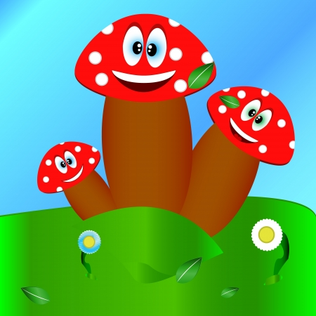 Cheerful three mushrooms on a glade with flowers Stock Vector - 13747917