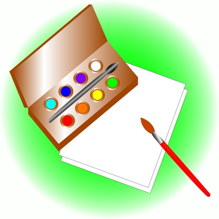 Multi-colored paints and brush on two sheets of paper Vector