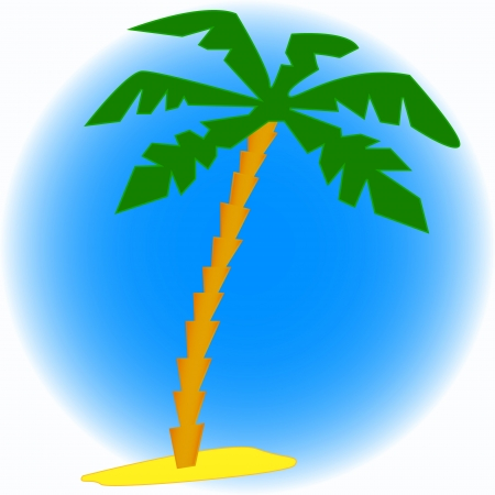 Palm tree drawing on a dark blue background Vector