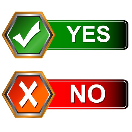 disagree: Buttons yes and no on a white background