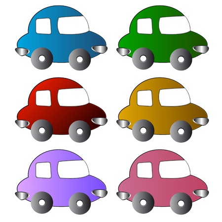 Six multi-colored icons of cars on a white background