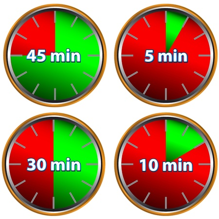metering: Unique icons of hours with five, ten, thirty and forty five minutes