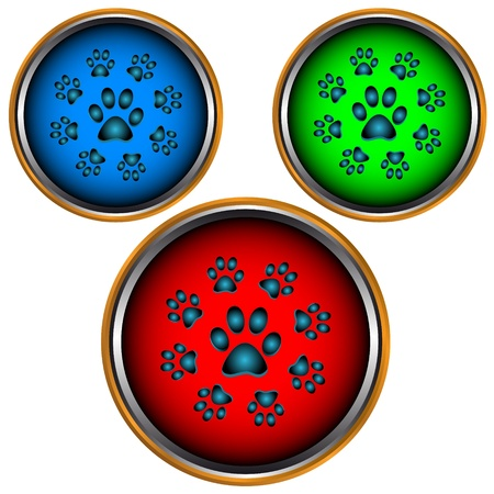 super dog: Three multi-colored buttons with animal paws on a white background