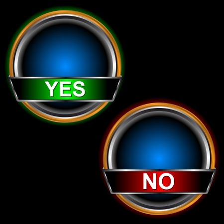 Buttons yes and no on a black background Stock Vector - 14049373