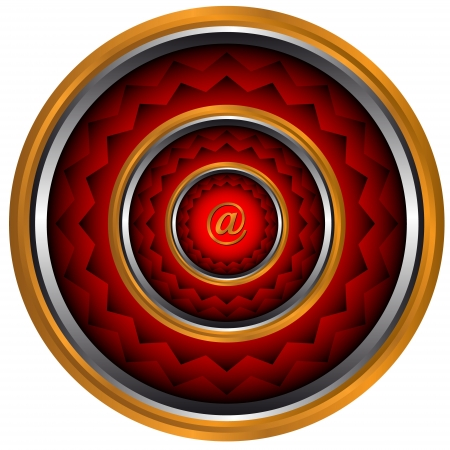 Abstract e-mail an icon with circles of red color Stock Vector - 14049364